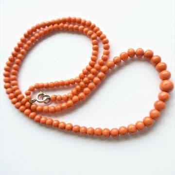 "Antique Victorian Genuine Coral Beads 14K Fastener C.1870's 24"" Opera Length"